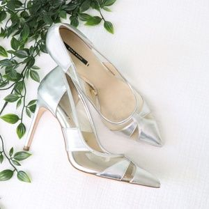 Zara Silver and Clear Pointed Toe Pumps
